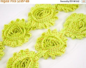 """Closed Out Sale 40% OFF 2.5"""" PRINTED Shabby Rose Trim- Neon Lime with Orange Dots - Printed Shabby Rose Trim -Hair Accessories  Supplies"""