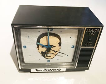 "vintage tom peterson alarm clock from portland, oregon ""wake up! wake up to a happy day!"""