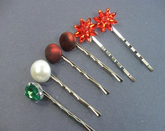 Decorative Hair Pins, Red, Green Hair Clip, Women's Hair Clip, Set of 5 Mix and Match Hair Accessories, Bobby Pin, Pinup, Updo
