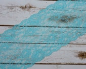 """6"""" Aqua + White Shimmer Floral Double Scallop Galloon Stretch Lace By The Yard"""