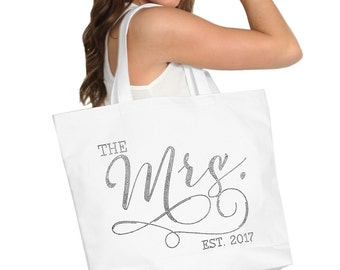 The Mrs White Tote - Wedding Date Tote Bag, Jumbo Bride's Tote, Bridal Shower Gift Bag, Bachelorette Party, Engagement Party Tote Bag