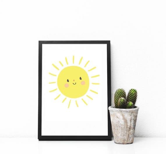 You Are My Sunshine Mr. Sun Yellow Bright Kawaii Cute Modern Trendy Print Great for Baby's Nursery - Digital Instant Download