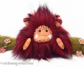 "Yeti artist bear, maroon red and black faux fur monster plush, artist bear, art doll, yeti plush, kawaii plush, monster toy ""Magmus"""