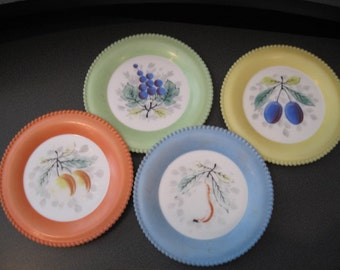 Vintage Colorful Milk Glass Salad/Dessert/Appetizer/Fruit/Cheese Plates With Fruit Design, Set of Four