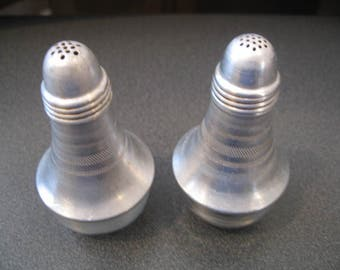 Vintage  Aluminum and Glass Salt and Pepper Shakers