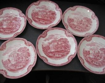 Vintage Johnson Bros China Saucers, Old Britain Castles, Set of Six
