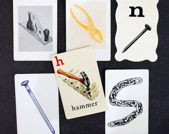 Hammer Time*Set of Word and Picture Flashcards*Junk Journal, Planners, Scrapbooks, Collages*Vintage Children's Flashcards