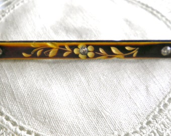 Antique Early Celluloid Victorian Bar Pin   Carved Floral with Crystal Brilliants  circa 1900