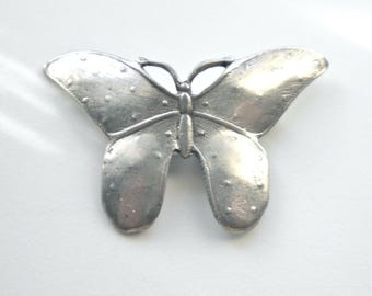 Modernist Pewter Vintage  Butterfly Brooch Pin circa 1970  Signed