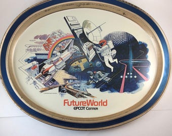 Epcot tray Future World Disney collectable 1980s drink metal serving platter AS IS