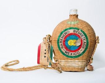 Mexican Liquor Bottle Wicker Habanero Berreteaga Mid Century