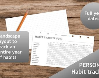 Habit Tracker, Planner, Printable planner inserts personal, booklet, Filofax calendar, kikki.K, Dot Grid, grayscale