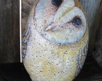 Sweet Heart Barn Owl Rock in Barn OOAK