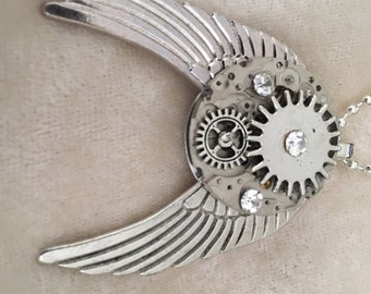 Steam Punk Pendant - Silver Angel Wings with clock works and gears