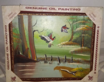Mallard oil painting, hand painted ducks in flight, framed oil painting ready to hang