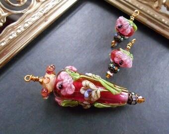 Monte Verdi Lampwork Beads - Handmade - Floral Focal - Madame Pinkadour circa 2003