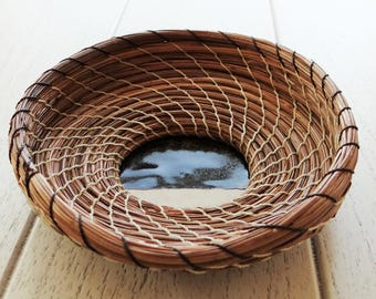 Brown Basket Pine Needle Basket One Of A Kind Basket For Him Basket For Her Housewarming Basket Native American Basket Pine Coiled Basket