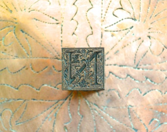 Ornamental Copper Letterpress Letter N / Antique Letterpress Solid Copper Printer's Block / Ornate Letter N