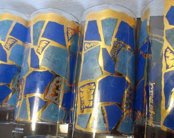 Georges Briard Blue and Gold Mosaic Mid Century Large Signed Tumbler Glasses - Set of 4 Signed Tumblers