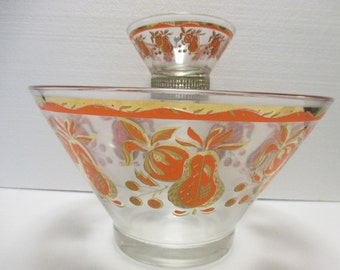 Vintage Chip and Dip Serving Bowls with Brass Holder Orange and Gold Paisley Pattern (3 pieces) - Shipping Included