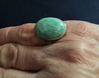 Sterling Silver Ring with Cabochon Stone