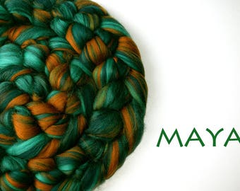 MAYA - blended roving - Merino - Tussah silk - 100g/3.5oz - green - copper