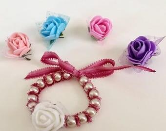 Stretch Champagne Pearl Bracelet,Bow Pearl Bracelet, Flower Girl Bracelets, baby dedication gift bracelet,Baby baptism bracelet, Christening