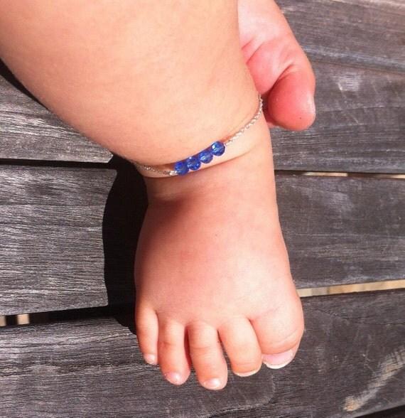 baby ankle bracelet,september birthstone jewelry, birthstone ,anklet, baby jewelry, baptism gift, baby shower gift , baby bracelet