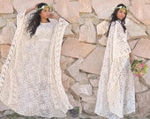 Ivory Cream sheer Crochet Lace Hippie Boho Festival Gypsy Bridal Caftan Resort Tunic Maxi dress Gown