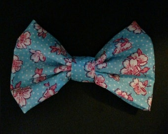 Blue and Pink Flowers Bow