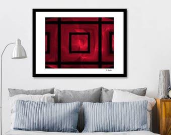 Red black art, giclee print, fractal art, minimalist art, modern art, geometric art, abstract art, sacred geometry, computer geek gift, art