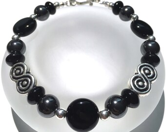 Black Bead Bracelet, Onyx Jewelry, Hematite Bracelet, Beaded Bracelet, Gemstone Bracelet, Onyx Bead Bracelet, Hematite Jewelry