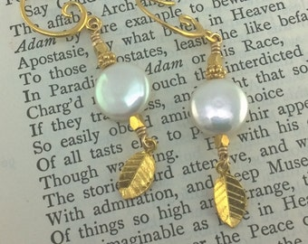 White Coin Pearl and Golden Leaf Earrings