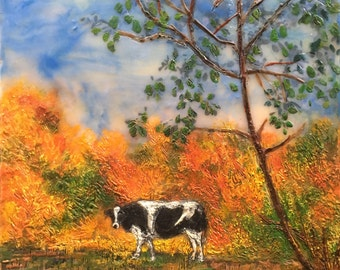 Cow in the Field 1, encaustic painting