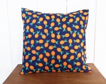 Cushion cover 40 x 40 cm fabric blue, green and orange PINEAPPLE