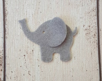 Felt Elephants, Grey, 3D, die cut in felt, card making, nursery decor, elephant baby shower, elephant appliques, scrapbooking, baby shower