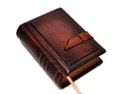 """Small dark brown leather journal- vintage style, 4""""x5.7"""", 10x14.5cm"""