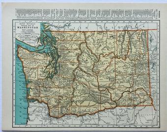 1940s Original Vintage Map Washington Virginia 14x11 Rand McNally Americana Wall Decor Art Craft Supplies