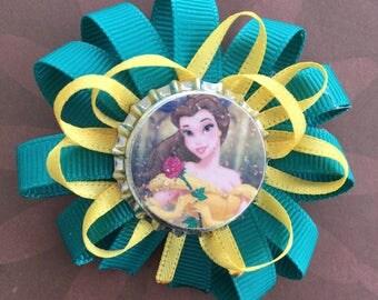 Disney Princess themed Bottlecap Hair Bow- Beauty &  the Beast