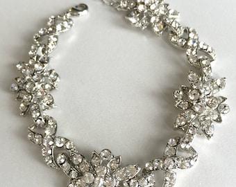 Rhinestone Bracelet, Floral Silver Bracelet, Silver Wedding Bracelet, Rhinestone Bridal Jewelry, Floral Rhinestone Bracelet, Bride ~JB-4816