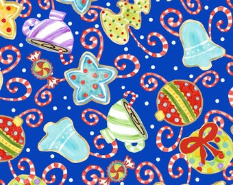 Christmas Fabric, Cookies - Jolly Holiday in the City - Red, Blue, Purple, Royal Blue - Material - Fat Quarter, Half or By the Yard, Yardage