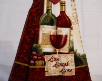 WINE, Beautiful, heavy, hanging kitchen towel for the wine lover in the house. Has  top that snaps over an appliance.