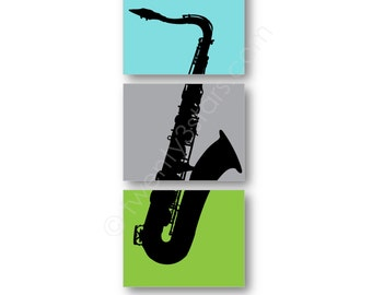 Saxophone Trio Canvas or Art Print Triptych, Choose Any Colors, Gift for Music Lover or Sax Player Saxophonist, Saxophone Poster Wall Art
