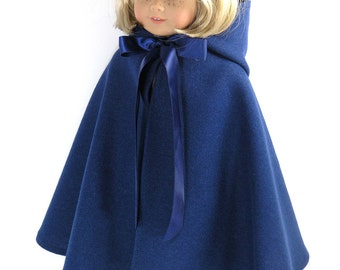 Handmade 18 inch Doll Clothes Fit American Girl - Navy Wool Cape with Hood
