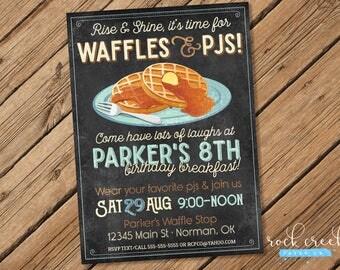 Waffles & PJs Birthday Invitation, Waffles and Pajamas Party, Waffles Birthday Party, Breakfast Party, Printable Birthday Party Invitation