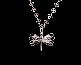 "Sterling necklace / Dragonfly pendant / butterfly necklace / silver womens jewelry / Birthday for her / daughter gift / 18"" chain"