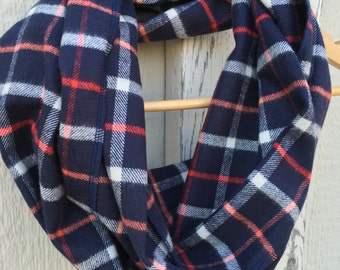 Ready to Ship Plaid Scarf Navy and Red Plaid Scarf II Navy Plaid Scarf Red White and Blue Scarf Patriotic Scarf