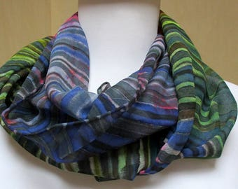 Silk scarf Accessory blue green gray stripes- Chiffon wrap- Made in NY Hudson Valley- Unique gift woman wife mom-art to wear