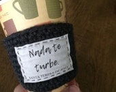St. Teresa of Avila coffee cozy. Spanish saint quote drink sleeve. Catholic gift. Nada te turbe. Gift for coffee lover. Gift for her / him.