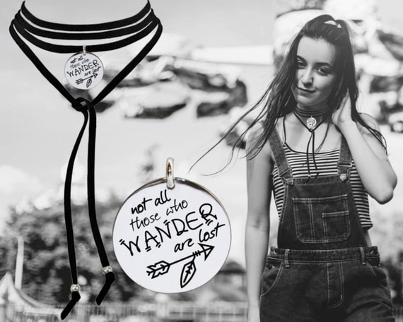 Leather Choker   Graduation   Graduation Gift   Going Away Gift   Goodbye Gift   Not all those who wander are lost   Korena Loves
